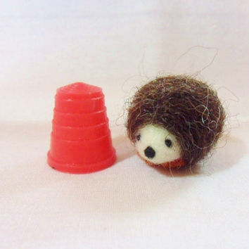 Needle Felted Hedgehog - miniature hedgehog - merino & corridale wool - micro miniature animal - wool felt hedgehog