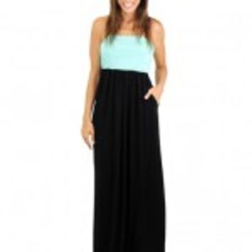Black and Mint Maxi Dress with Pockets