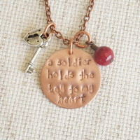 """Personalized Hand Stamped, Copper """"A Soldier Holds The Key To My Heart"""", Military Wife or Girlfriend, Army, Navy, Marine Necklace"""
