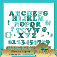 "50% OFF Sale WILD About Light Teal Alphabet, 5""  Digital Scrapbooking, Instant Download, Printable, Commercial use,Patterns"