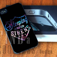 Sleeping With Sirens Logo Galaxy Nebula  - Print Custom Case - Rubber or Plastic - iPhone 4 or 4s / 5, Samsung S3 / S4, iPod 4 /5