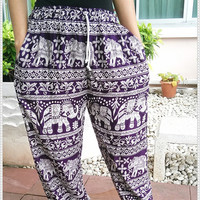 Elephant Yoga Pants Baggy Boho Style Print Hippie Gypsy Thai Tribal Plus Size Rayon Aladdin Clothing Beach Baggy Casual Gift Rayon Tank Men