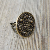 Large Unique Vintage Statement Adjustable Filigree Ring