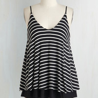 ModCloth Mid-length Spaghetti Straps Let's Tier it for the Poise Top in Black Stripes