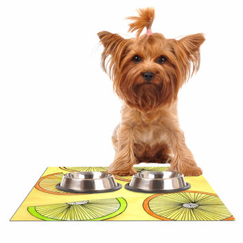 "Rosie Brown ""Lemons And Limes"" Yellow Fruit Dog Place Mat"