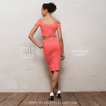 PREMIUM FABRIC Audrey Two-Piece Off Shoulder Crop Top & Pencil Skirt Co-Ord Set in Coral Pink