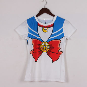 2017 new Hot Sailor moon harajuku t shirt women cosplay costume top kawaii fake sailor t shirts girl new Free Shipping