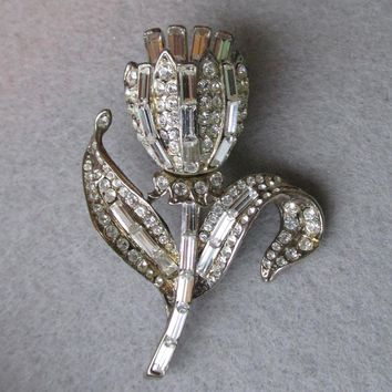 Signed 1930's Rhinestone Tulip Flower Trembler Pin