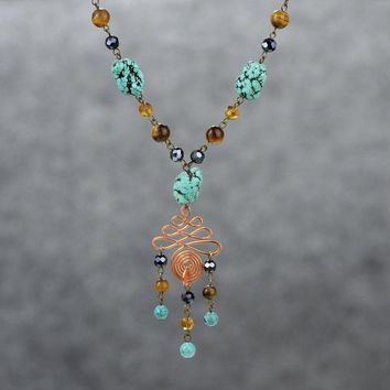Turquoise tigerseye Long lariat necklace Bridesmaids gifts Free US Shipping handmade Anni Designs
