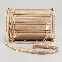Five-Zip Mini Metallic Crossbody Bag, Bronze