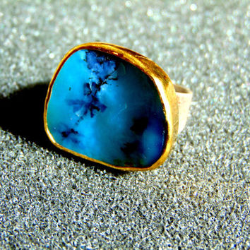 Beautiful silver and gold statement ring- Women's opal statement ring-  gold 18k women's ring- Gemstone statement ring-Artisan gold rings