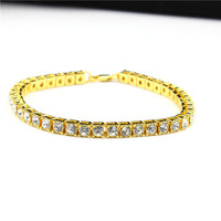Hip hop Men Bracelet Silver/Gold Plated Iced Out 1 Row Rhinestones Bracelet Chain Clear Simulated Diamond Bracelet Women 20cm