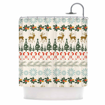 "Famenxt ""Christmas Vibes"" Holiday Pattern Shower Curtain"