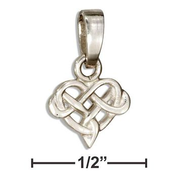 Sterling Silver Charm:  Tiny Celtic Knot Heart Pendant