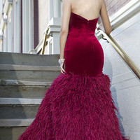 Strapless Feather Gown
