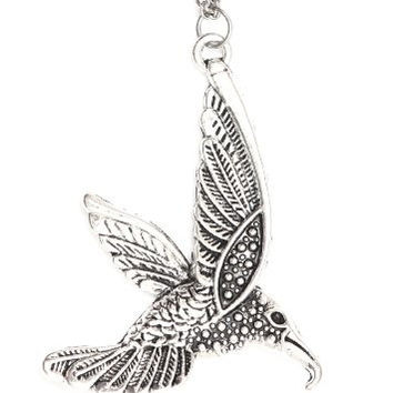 Hummingbird Necklace Tropical Bird Antique Silver Tone NJ20 Pendant Fashion Jewelry
