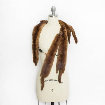 Vintage 1950s Fur Stole - MINK Brown Plush Full Pelt Fur Wrap 40s - OSFM
