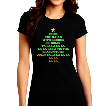 Deck the Halls Lyrics Christmas Tree Juniors Crew Dark T-Shirt
