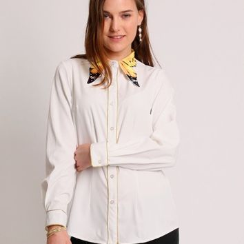 Monarch Skies Button-Up Blouse