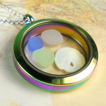 Non-Magnetic Rainbow Memory Locket GENUINE Glass Necklace And Sand Dollar RARE Eco Friendly