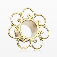 Golden Brass Bali Floral Filigree Double Flared Tunnel Plug