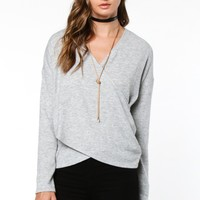 Hudson Cross Front Sweater - Grey