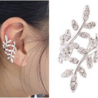 New Fashion Women's Punk Rock Retro Earring Crystal Leaf Ear Cuff Warp Clip Ear Stud(1 pcs) = 1669421124