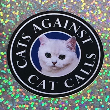 Cats Against Cat Calls Vinyl Sticker, Laptop Sticker, Waterproof Sticker, Phone Case Sticker, ipad Sticker, Skateboard Sticker