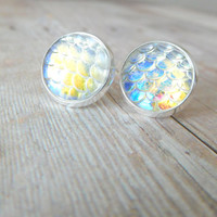 S C A L E S  - Iridescent Pearl White, Fish Scale, Silver Plated Stud Earrings, 12mm