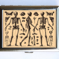 Anatomy Skeletons Cigarette Case Wallet Business Card Holder gothic victorian medical SUMMER SALE