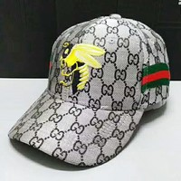 GUCCI Fashion New Stripe Embroidery Bee More Letter Sunscreen Women Men Cap Hat Gray