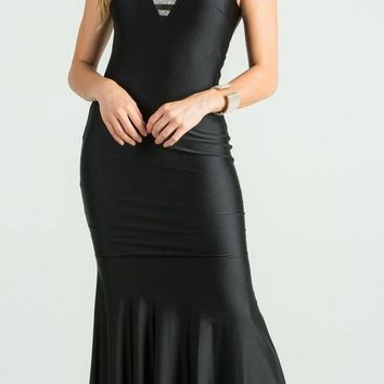 Black Trumpet Style V-Neck Long Formal Dress