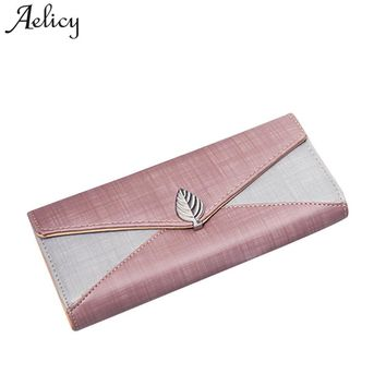 Aelicy New Long Women Leather Bifold Wallet High Quality Hasp ID Card Holder Billfold Clutch Purse Chain Patchwork Carteira
