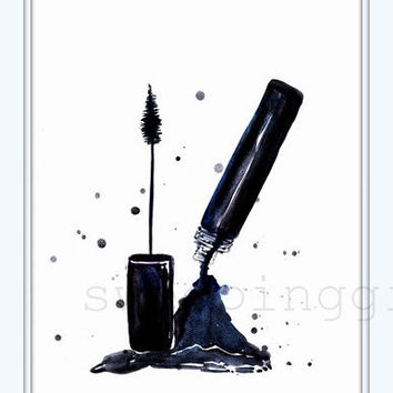 Mascara, printable decor, Coco Chanel watercolor, girl fashion wall art, vanity decals, bathroom decors, eye lashes makeup, dressing room