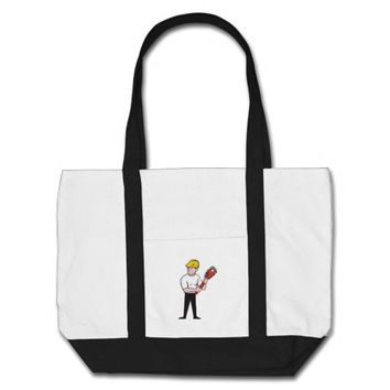 Plumber Holding Monkey Wrench Cartoon Tote Bag