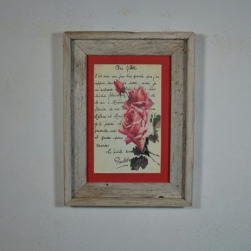 Pink roses postcard print framed in rustic reclaimed wood