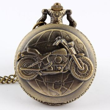 2017 New Arrival Antique Bronze Motorcycle Motorbike MOTO Shape Pocket Watch Necklace Pendant Men's Gifts Relogio De Bolso