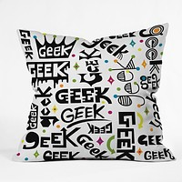 Andi Bird Geek Words Throw Pillow