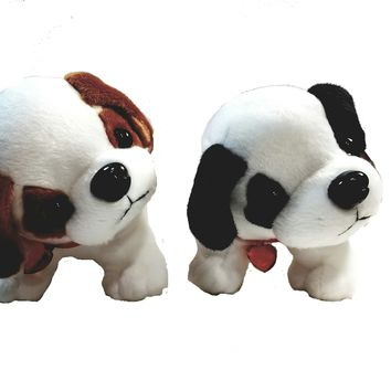 "National Plush Set Of 2 Puppies Brown-White & Black-White Plush Puppy Dog 10"" Cute Toy"