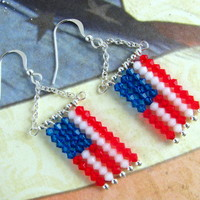 Flag Earrings - Swarovski Crystals Flag Dangle Earrings Crystal Bicones