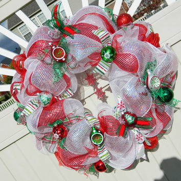 Traditional Christmas Wreath - Red White & Green Deco Mesh - Holiday Wreath