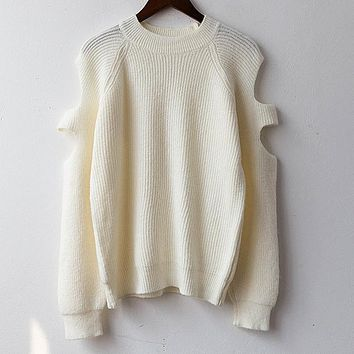 Fashion loose strapless sweater