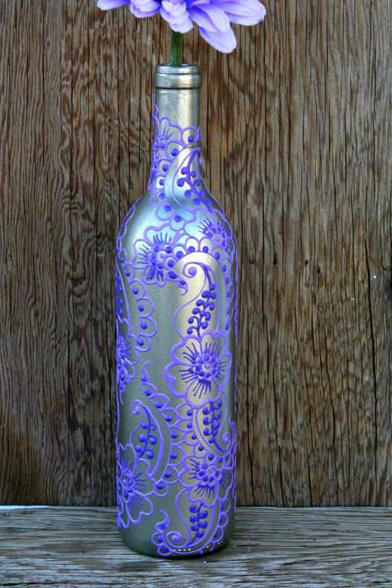 Hand Painted Wine Bottle Vase Up Cycled From Lucentjane