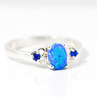 Sterling Silver and Blue Fire Opal Double Heart Ring