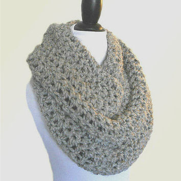 Oversized Knit Scarf Gray Oversized Chunky Infinity Scarf Circle Loop Crochet Grey Wool Infiniti Scarf Cowl Women or Mens Scarf
