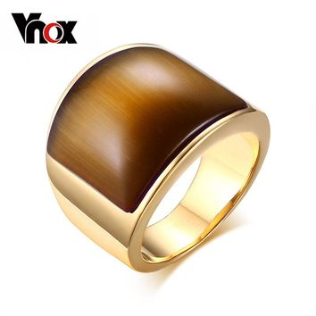 Vnox Fashion Stainless Steel Rings for Women Party Jewelry Big Stone Wedding Gift