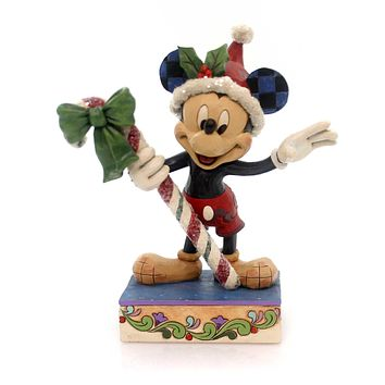Jim Shore SWEET GREETINGS. Polyresin Mickey Mouse Candy Cane 40511968