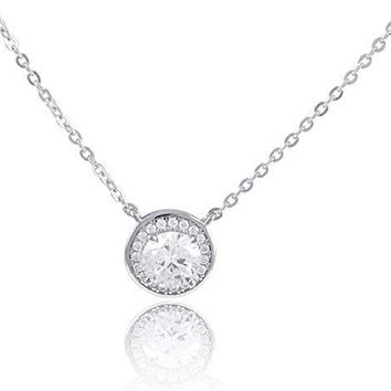 Sterling Silver Round Cz Solitaire Necklace