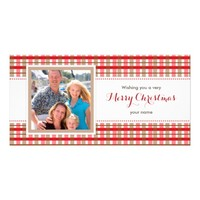 Casual red brown plaid family photo Christmas card Photo Card