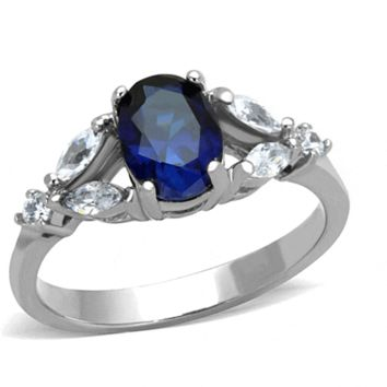 Blue Romance - Blue oval solitaire marquise cut embellished cubic zirconia stainless steel ring